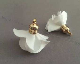 Set of 20 or 50pieces White delicately layered chiffon fabric flower gold caps tassel --for length 30mm(#0351)