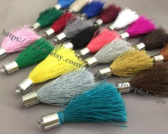 wholesale 100pieces (more than 20colors) 45mm string cotton silver matel caps ear tassel (#0471)