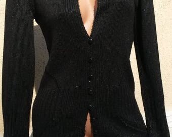 Lady knit cardigan hand knitting.Clothing gift for her.