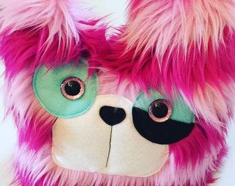 Monster, Monster Plush Toy, Furry Monster, Faux fur monster, Striped monster, monster Plush, Cute monster, Fluffy monster, Pink monster.