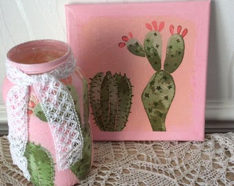 Hand decorated pink cactus mini canvas and jar set, cactus, summer, home decor, wall art, wall decor, pictures, trending now
