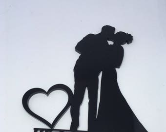 TENNER TUESDAY, Kissing couple cake topper, silhouette cake topper, cake topper, bride and groom, couple, mr and mrs