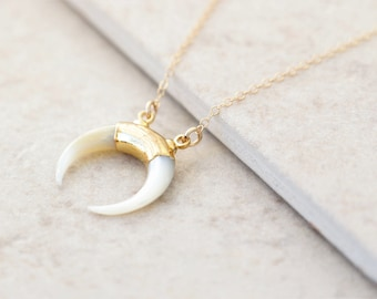 Mother of Pearl Horn Necklace - 14k Gold Filled Gemstone Jewelry