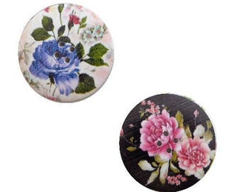2 round buttons, sewing, scrapbooking FLEURI IV 4 cm