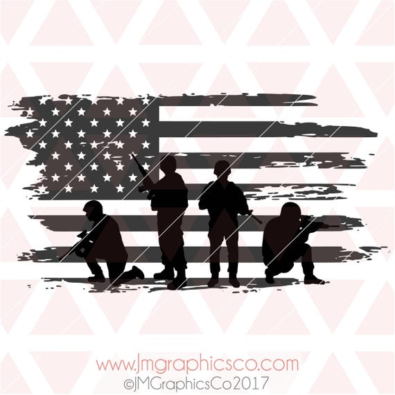 Soldiers American Flag Distressed Svg Eps Dxf Png Cricut