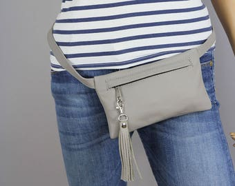 LEATHER FANNY Pack, Leather Waist Bag, Fanny Pack Leather, Hip Bag, Leather Pouch, Belt bag, Leather Woman Bag, Light Grey - Mini bag - 11