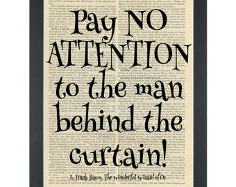 Wizard of Oz quote pay no attention Dictionary Art Print