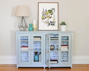 SOLD - Hand painted book cabinet