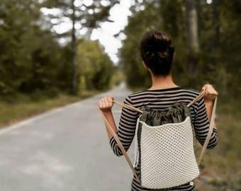 Macrame backpack in earth tones, neutral