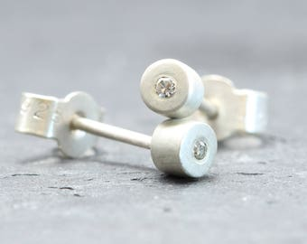 Christmas Gift Idea For Wife / Simple Diamond studs, 3.5mm Silver Studs With 1mm White Diamonds