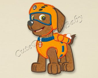 SALE! Paw Patrol Zuma applique embroidery design, Paw Patrol Machine Embroidery Designs, Embroidery designs for baby, Instant download #009
