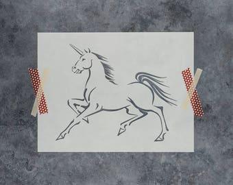 Unicorn Stencil - Reusable DIY Craft Stencil of a Unicorn