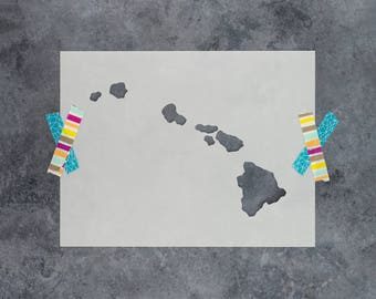 Hawaii State State Stencil - Hand Drawn Reusable Mylar Stencil Template