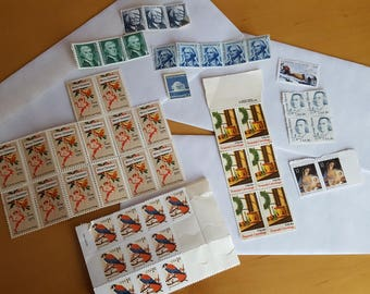 Stamp Collector Lot of 47 Unused Vintage Stamps 1960s-80's