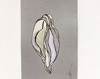Original Vagina Flower Abstracted Feminist Feminism Fem Body Positive Woman Vulva Yoni Artwork Wall Art Home Decor