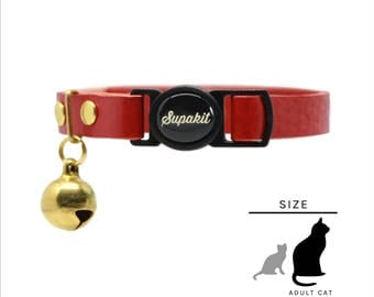 """Cat Collar - Leather Cat Collar - Cat Collar Breakaway - Cute Cat Collar - Cat Lover Gift - """"Scarlet"""" // PRIMARY collection"""