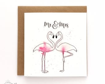 Wedding card - Mr and Mrs Flamingo - Hand-lettered card