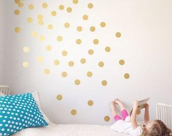 100 Gold Polka Dot Decals