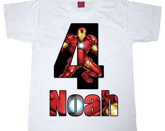 super hero birthday shirt bot or girl shirt