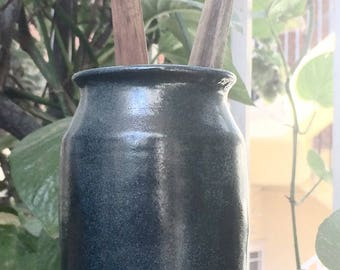 Blue Gray Ceramic Utensil Holder/ Vase