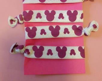 Set of 4 Minnie heads elastic Hair ties