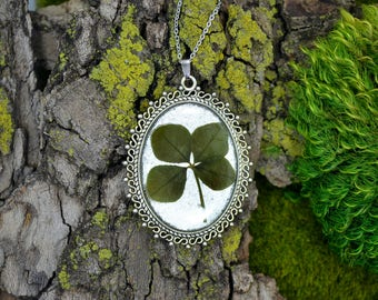 Genuine 4 Leaf Clover Cameo Necklace [BC 004] / Stainless Steel / White Clover Pendant / Triforium Repens Clover / Good Luck Charm
