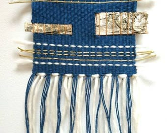 Small woven wall hanging blue
