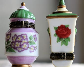 Flower Urns Decorative Boxes- Set of 2 Porcelain Hinged Boxes Vintage Midwest of Cannon Falls