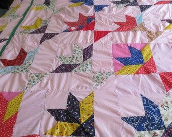 """Vintage Flower Basket Patchwork Quilt Top Red & Pink 76"""" x 94"""""""