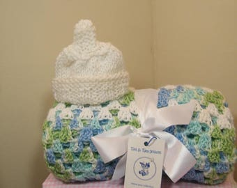 knit/crochet baby blue/white/green multi baby blanket + FREE knit baby hat with the purchase of a baby blanket NEW ITEM!!!