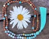 Amazonite Rudraksha Mala Necklace 108   108 mala beads   Amazonite Mala beads   Rudraksha Mala   japa mala   spiritual jewelry   mala beads