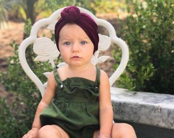 Maroon, baby turban, knot turban, baby hat