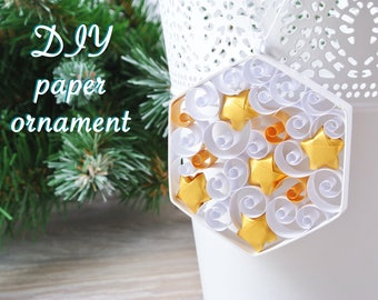 Hexagon hanging Christmas decoration DIY kit. Paper ornament, child or adult creative kit, kit for quilling for beginner, choice of color.