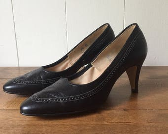 Vintage Johansen Pumps, Black Leather Pumps, Women's Size 7 1/2 High Heel Pumps, 1950s, 1960s