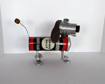 Found object Robot Dog - Steampunk Sculpture - Dachshund Robot - Vintage tennis - Upcycled Recycled Art - Dog Bot