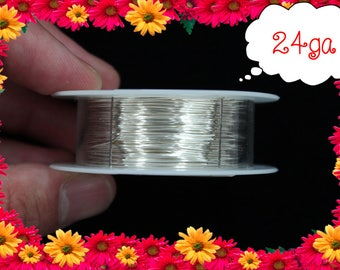 24ga 100ft Silver Wrap Wire, Silver Wrapping wire, Silver Beading wire, Silver Jewelry Wire,
