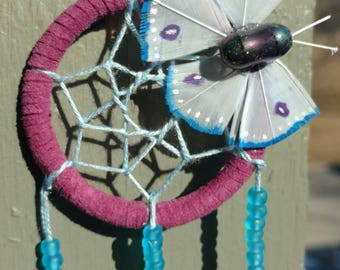 Small purple and blue dream catcher with wire wrapped clear quartz and hand-made butterfly