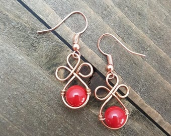 HANDMADE Copper Wire Red Glass Bead Earrings