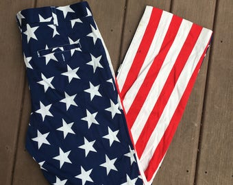 USA Pants Stars and Stripes Fourth Of July Flag Patriotic American Slacks 38x34 L