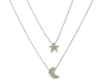 Silver Star & Moon necklace