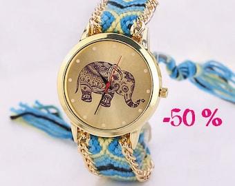 SUMMER SALE / / / boho Ethnic Elephant watch / / / multicolor friendship bracelet with gold chain