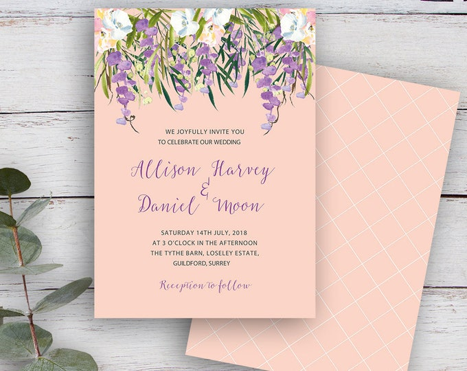 Featured listing image: FLORAL CASCADE, DIY Printable Invitation Template, Watercolour Florals & Foliage, Blush Pink