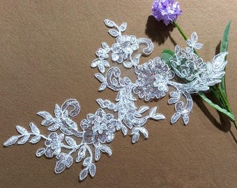 1 pair Bridal Lace Applique Sequins Trim Appliques in off white for Weddings,   Sashes, Veils, Headpieces, WL1502