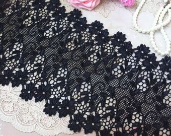 Vintage Black Hollow Leaf Lace Trim 8.26 Inches Wide 1.09 Yard/ Craft   Supplies, WL1743
