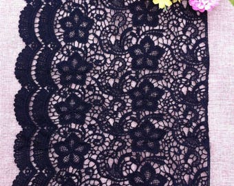 Vintage Black Hollow Flower Embroidery Lace Trim 11.41 Inches Wide   1.09 Yard/ Craft Supplies, WL1737