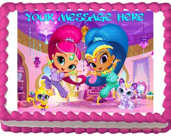 Shimmer and Shine with Pets Edible Cake Cupcake Cookie Topper