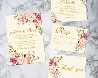 PRINTABLE Rustic gold wedding invitation set, custom gold wedding invitation floral, printable wedding invites set, printable invitations