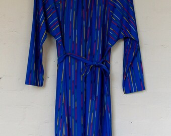 1980's blue and rainbow striped dress - Size 16/18