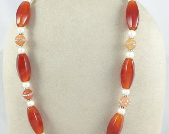 Beautiful burnt orange carnelian, sterling silver and freshwater pearl necklace