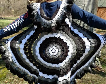 Black, White, Grey Hippie Festival Mandala Vest Small, Medium, Large- Free Shipping
